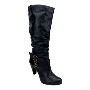 Bronx Black Heeled Tall Leather Zari Boots 9